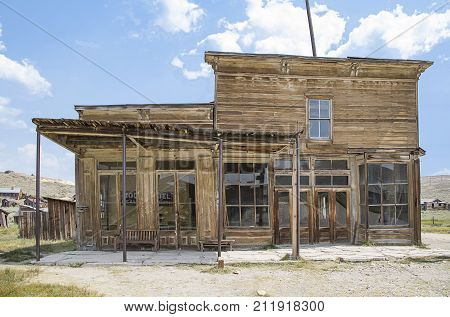 BODIE, CALIFORNIA, USA - August 31, 2017 : Old buildings in Bodie ghost town, California. Bodie is a historic state park from a gold rush era in the Bodie Hills east of the Sierra Nevada
