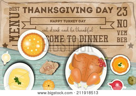 Roast Turkey Thanksgiving Day and Traditional Dishes - Cranberry Sauce Pumpkin Pie Pumpkin Soup and Mash Potatoes. Top view on Blue Wooden Table. Vector Illustration.