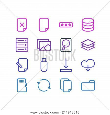Editable Pack Of File, Hdd, Remove And Other Elements.  Vector Illustration Of 16 Memory Icons.