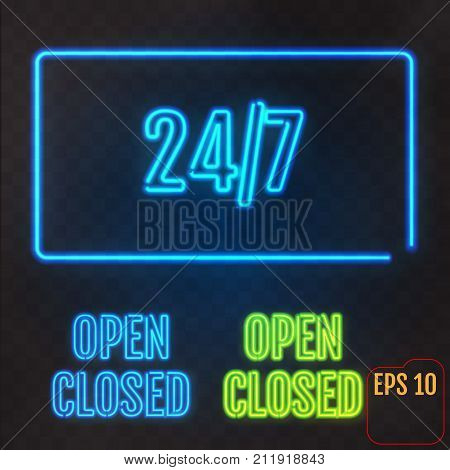 Open, Closed, 24-7 Hours Neon Light On Transparent Background.