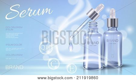 Realistic 3d cosmetic ad template. Light blue transparent glass essence bottle pipette oil vitamin bubble serum face care. Promotional poster template liquid water droplet vector illustration art