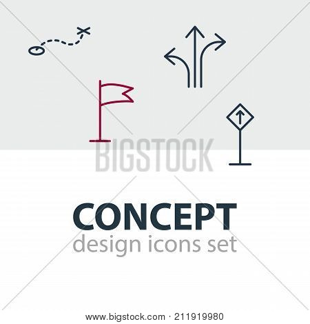 Editable Pack Of Signpost, Pennant, Path And Other Elements.  Vector Illustration Of 4 Direction Icons.