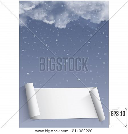 Thunderclouds Against The Background Of Snowfall. Vector Realist