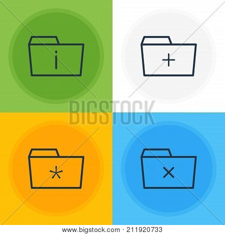 Editable Pack Of Significant, Plus, Information And Other Elements.  Vector Illustration Of 4 Folder Icons.
