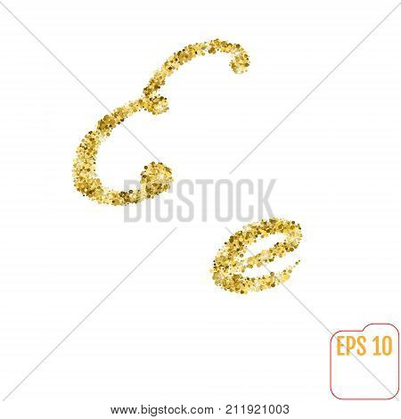 Gold Rush. Gold Alphabetic Letter E. Vector Gold Alphabet. Font