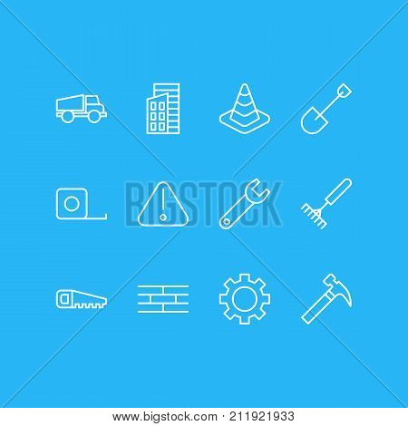 Editable Pack Of Cogwheel, Measure Tape, Hacksaw And Other Elements.  Vector Illustration Of 12 Industry Icons.