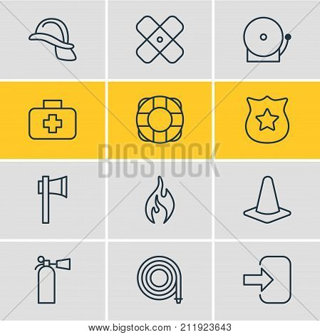 Editable Pack Of Ax, Siren, Taper And Other Elements.  Vector Illustration Of 12 Necessity Icons.