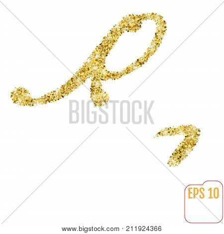 Gold Rush. Gold Alphabetic Letter R. Vector Gold Alphabet. Font