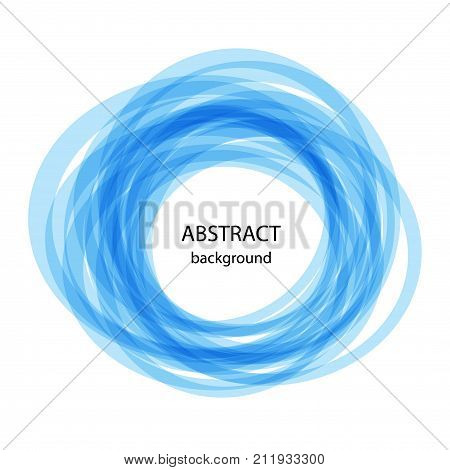 Abstract background with blue circles. Blue line on white background. Vector illustration abstract banner for web and print. Vector blue swirl.