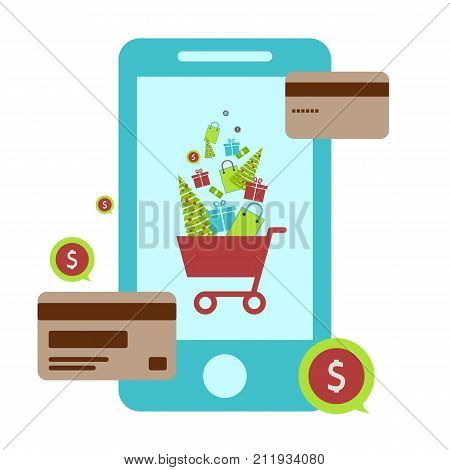 Concept of online shop e-commerce store internet shop vector illustration smartphone as ecommerce online store .Christmas shopping. Vector illustration. Eps 10.