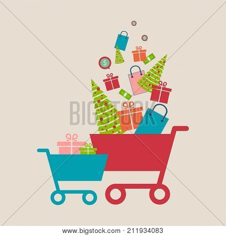 Concept of online shop e-commerce store internet shop vector illustration isolated smartphone as ecommerce online store with shopping cart .Christmas shopping. Vector illustration. Eps 10.