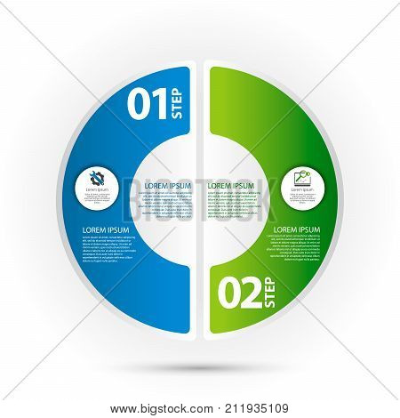 Modern vector illustration 3d. Template of circular infographics with two elements sectors and percentages. Designed for business presentations web design diagrams with 2 steps.