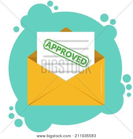 Envelope with approved document concept. Paper envelope with approved letter. Vector illustration.