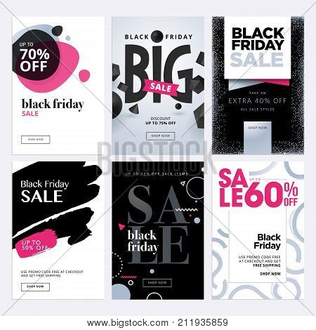 Black Friday sale banners. Set of social media web banners for shopping, sale, product promotion, clearance sale. Vector illustrations for website and mobile website banners, posters, email and newsletter designs, ads, promotional material.