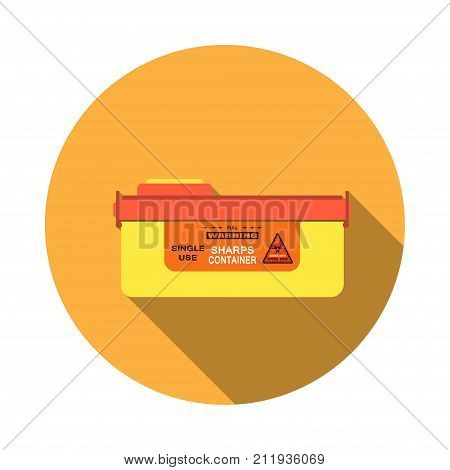 Vector isolated icon of sharps container with detachable lid and sticker with biohazard sign on the orange background with shadow. poster