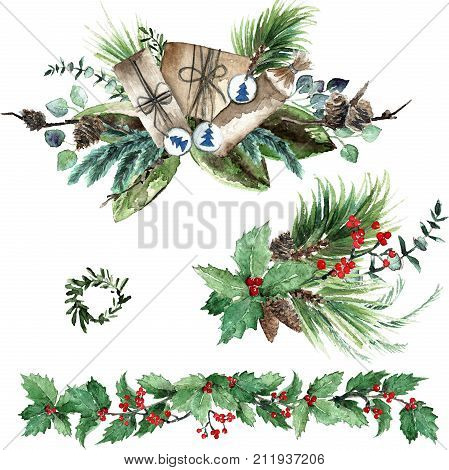 Watercolor Scandinavian Christmas Composition Set. Hand drawn winter decoration. Magnolia leaves, spruce, eucalyptus, holly and pinecones bouquets.