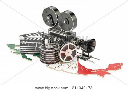 Mexican cinematography film industry concept. 3D rendering isolated on white background
