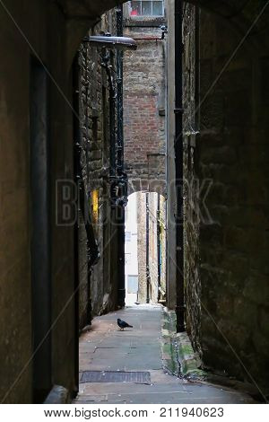 Dark and Narrow Close or Alleyway in Edinburgh Scotland