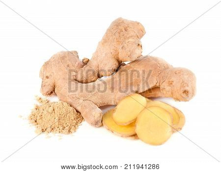 Ginger root and ground ginger isolated on white background