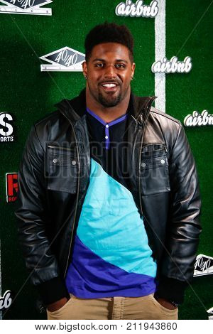 NEW YORK-FEB 1: Football player Cam Jordan attends the Roc Nation Sports Celebration at the 40/40 Club on February 1, 2014 in New York City.