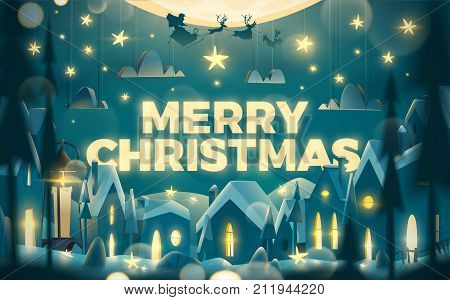 Merry Christmas greeting card in cartoon style. Winter night with flying Santa Claus on the sledge.