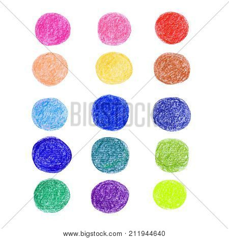 Abstract pattern with pastel circle isolated on white background. Raster illustration for textile, wraping-paper and other design