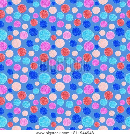 Abstract seampess pattern with pastel circle. Raster illustration for textile, wraping-paper and other design