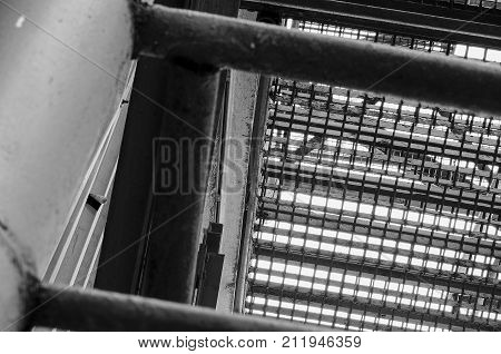 Industrial stairway. Close-up. Add grey tint effect
