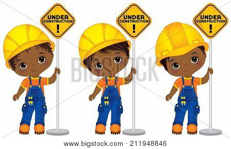 Vector cute little African American boys holding the signs - under construction. Vector little boys with various hairstyles. Vector construction. African American little builders vector illustration