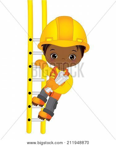 Vector cute little African American boy climbing up the ladder and holding drawings. Vector construction. Vector little African American boy. Little builder vector illustration