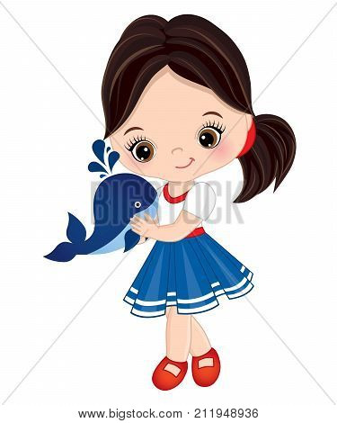 Vector cute little girl with baby whale. Vector little girl dressed in nautical style. Little girl with baby whale vector illustration