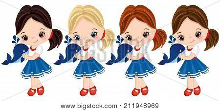 Vector cute little girls with baby whales. Vector little girls with various hair colors dressed in nautical style. Vector little girl. Little girls with baby whales vector illustration