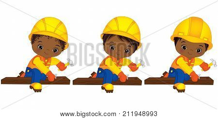 Vector cute little African American boys hammering nails. Vector little boys with various hairstyles. Vector African American little boys working. Little builders vector illustration