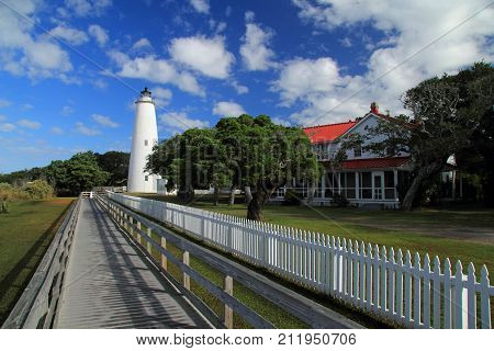 Historic Ocracoke Light on Ocracoke Island, Cape Hatteras National Seashore, North Carolina