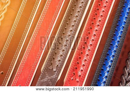 A Close-up Of  Leather  Belts