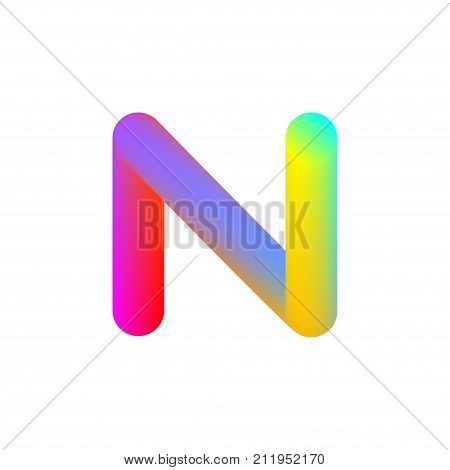 Letter N. Gradient circle. Template for logo icons Stock vector