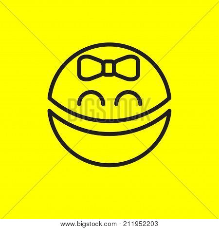 Smiley girl. Black and yellow avatar girl child with bow. Positive emoticon. Stock vector
