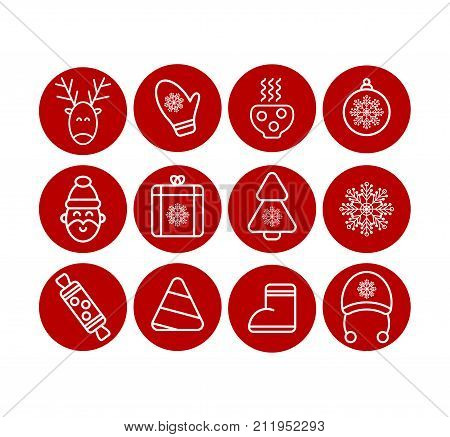 Christmas icon set. Christmas icons vector. Santa Claus reindeer xmas tree ball snowflake stocking cup Stock vector