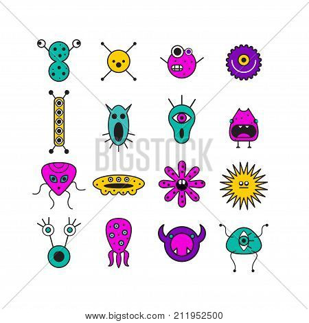 Set of icons with monsters. Colored funny microbes. Stock vector