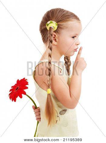 Happy little girl giving  flowers.