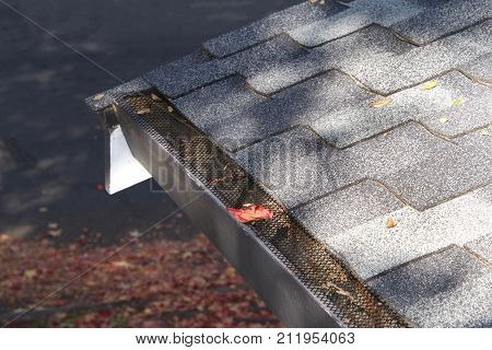 Mesh guards over troughs to prevent leaves and large debris from getting into gutters. Clogged gutters less likely maintenance is much easier can prevent rusting and provides added fire protection.