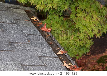 Mesh guards over troughs to prevent leaves and large debris from getting into gutters. Clogged gutters less likely maintenance is much easier can prevent rusting and provides added fire protection. poster