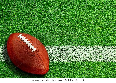 Football On Field With Copy Space
