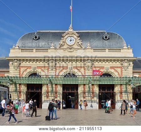 Nice France - September 27 2017: People departing at Nice railway Station Provence Cote d'azur France