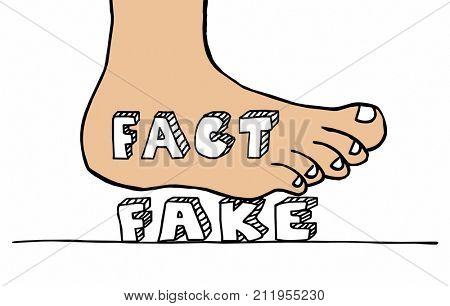 Facts Vs Fake News Foot Stomping Out Misinformation Illustration