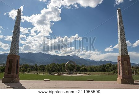 COLORADO SPRINGS CO/USA - September 6 2016 - The obelisks and Julie Penrose Fountain as seem at the emtrance of America The Beautiful Park in Colorado Springs Colorado.