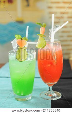 close up of cocktails or mocktails with lemon