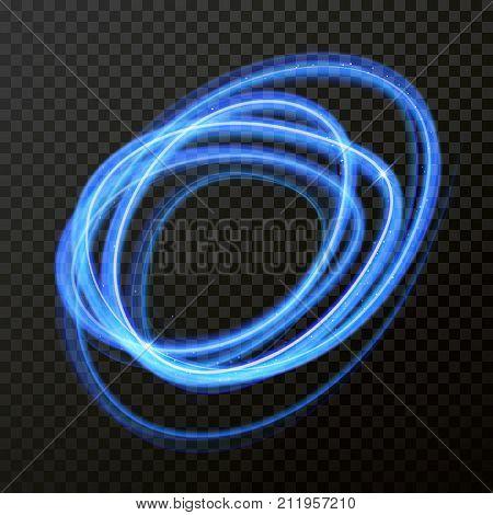 Light Line Neon Swirl Effect. Vector Glitter Circle Light Fire Flare Trace