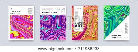 Brochure template set with marble background. Marbling texture cover background for banner poster or magazine design. Abstract vector creative background with liquid watercolor color splash backdrop