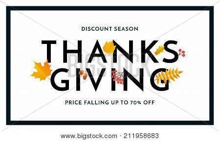 Thanksgiving Autumn Sale Poster Fall Discount Promo Shop Offer Vector Banner